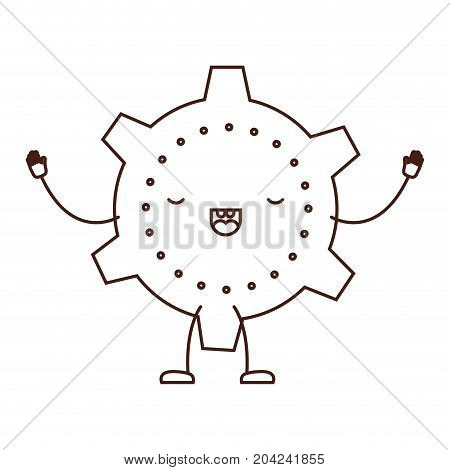 cogwheel icon kawaii caricature in brown color contour vector illustration