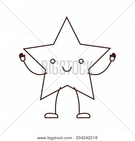 star kawaii caricature in brown color contour vector illustration