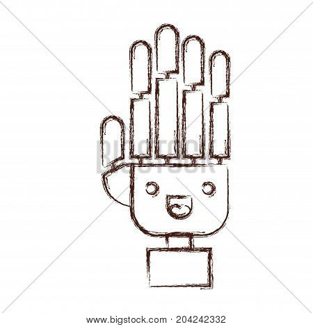 robotic hand kawaii caricature in blurred brown color contour vector illustration