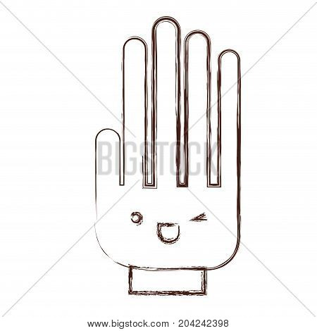 hand kawaii caricature in blurred brown color contour vector illustration