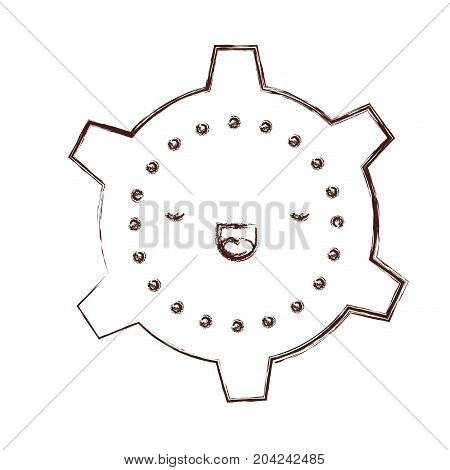 cogwheel kawaii caricature in blurred brown color contour vector illustration
