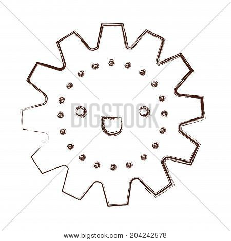 gear kawaii caricature in blurred brown color contour vector illustration