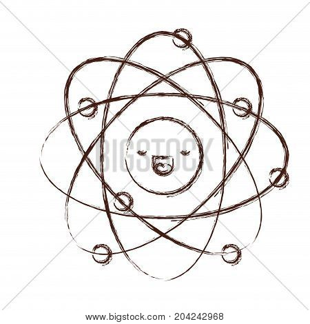 atom kawaii caricature in blurred brown color contour vector illustration