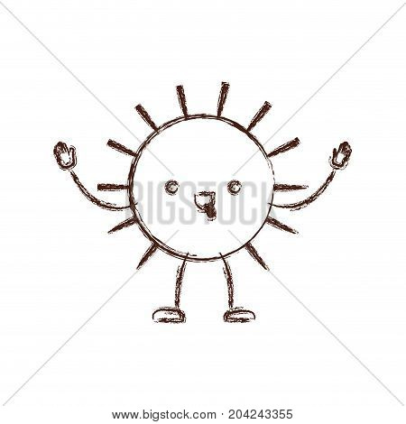 sun kawaii caricature in blurred brown color contour vector illustration