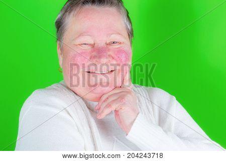 Happy And Smiling Senior Woman, Isolated Studio Portrait