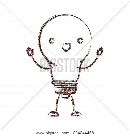 light bulb kawaii caricature with open arms standing in blurred brown color contour vector illustration