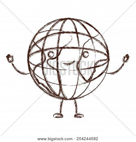 globe world kawaii caricature with open arms standing in blurred brown color contour vector illustration