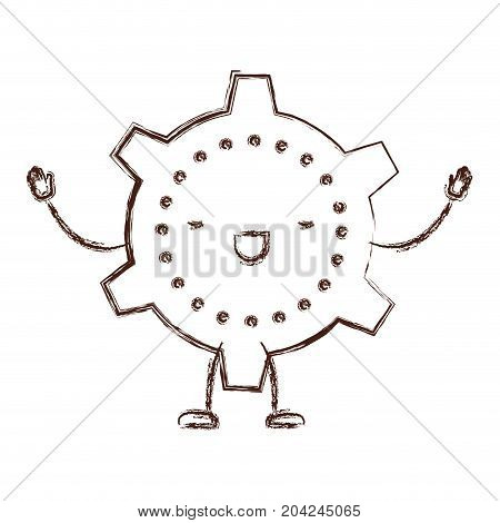 cogwheel kawaii caricature with open arms standing in blurred brown color contour vector illustration