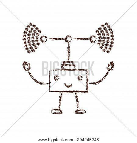 transmission antenna kawaii caricature with open arms standing in blurred brown color contour vector illustration