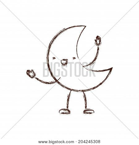 moon kawaii caricature with open arms standing in blurred brown color contour vector illustration