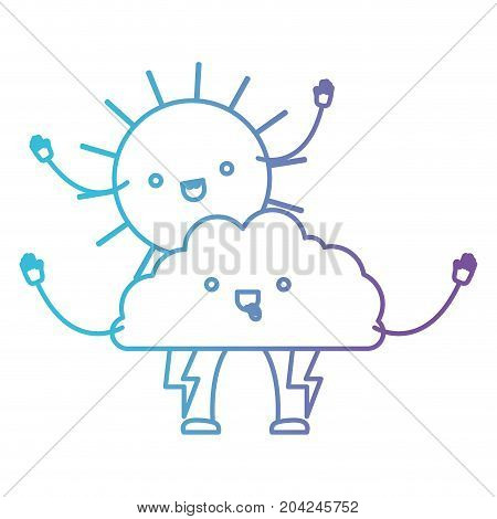 cloud with lightnings and sun kawaii caricature in color gradient silhouette from purple to blue vector illustration
