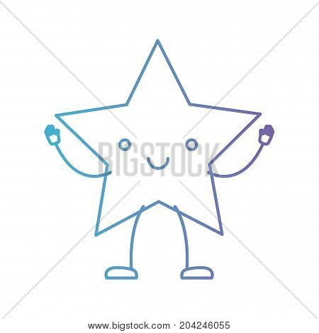 star kawaii caricature in color gradient silhouette from purple to blue vector illustration