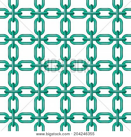 Net of chain in turquoise design on white background