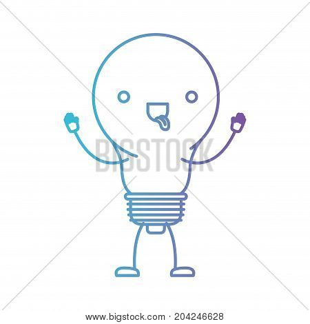 light bulb kawaii caricature with open arms standing in color gradient silhouette from purple to blue vector illustration