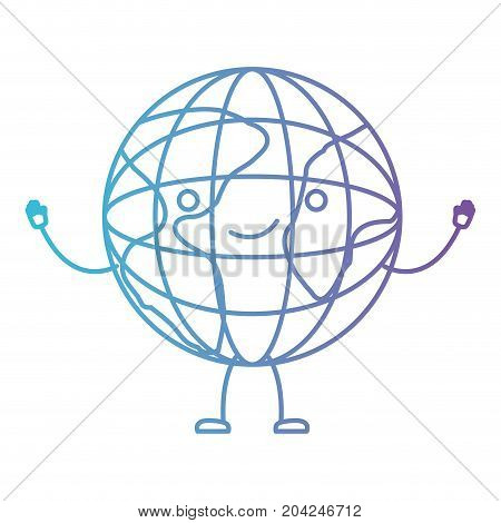 globe world kawaii caricature with open arms standing in color gradient silhouette from purple to blue vector illustration