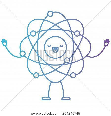atom kawaii caricature with open arms standing in color gradient silhouette from purple to blue vector illustration
