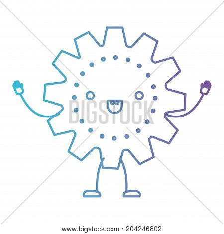 gear icon kawaii caricature with open arms standing in color gradient silhouette from purple to blue vector illustration