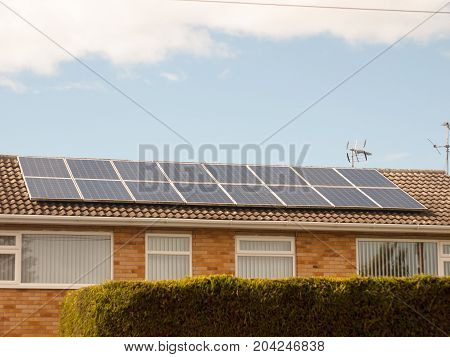 Close Up Of Solar Panels On Top Of Roof Home