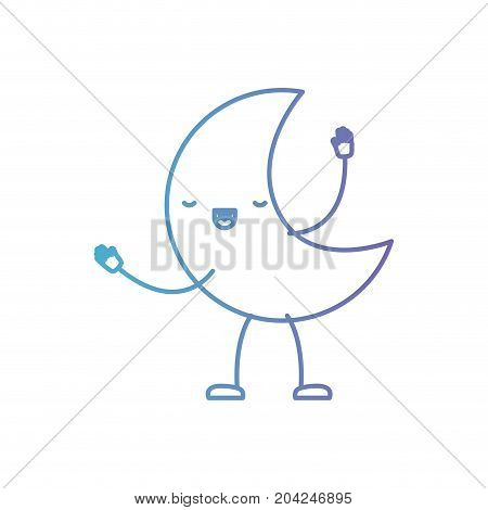 moon kawaii caricature with open arms standing in color gradient silhouette from purple to blue vector illustration
