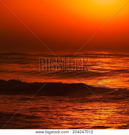 Beatiful Red Sunset Over Sea Surface