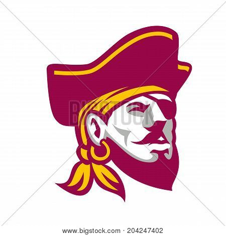 Icon style illustration of a Buccaneer, a privateer or pirate particular to the Caribbean Sea wearing tricorne hat on isolated background.
