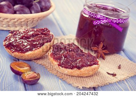 Vintage Photo, Sandwiches With Homemade Plum Marmalade Or Jam, Concept Of Healthy Sweet Breakfast Or