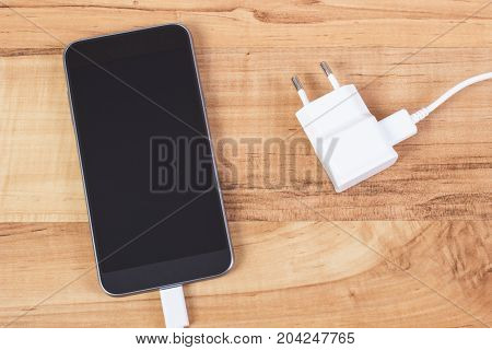 Mobile Phone With Connected Plug Of Charger, Smartphone Charging
