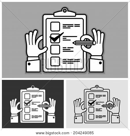 Checklist with checkmark on and pencil in hand on grey vector illustration