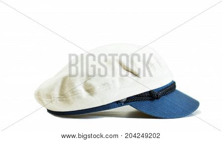 White sailor hat with white background texture