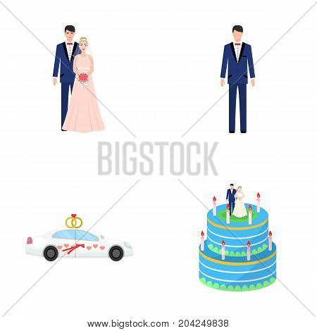 A bride and groom in a wedding dress with a bouquet of roses in their hands, a groom in a festive suit, a cadillant of newlyweds decorated with ribbons and hearts, a wedding cake with the bride and groom. Wedding set collection icons in cartoon style vect