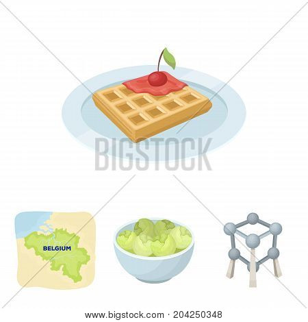 Territory on the map, brussels sprouts and other symbols of the country.Belgium set collection icons in cartoon style vector symbol stock illustration .