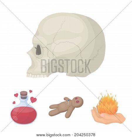 A voodoo doll, a magical fire, a love potion, a skull.Black and white magic set collection icons in cartoon style vector symbol stock illustration .