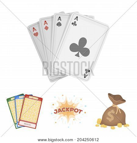 Jack sweat, a bag with money won, cards for playing Bingo, playing cards. Casino and gambling set collection icons in cartoon style vector symbol stock illustration .