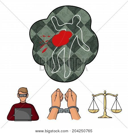 Handcuffs, scales of justice, hacker, crime scene.Crime set collection icons in cartoon style vector symbol stock illustration .
