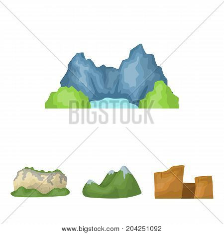 Green mountains with snow tops, a canyon, rocks with forests, a lagoon and rocks. Different mountains set collection icons in cartoon style vector symbol stock illustration .