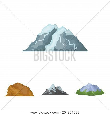 Mountains in the desert, a snowy peak, an island with a glacier, a snow-capped mountain. Different mountains set collection icons in cartoon style vector symbol stock illustration .