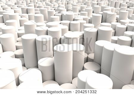 Pattern of white cylinders of different length. Black matte sticks. Abstract background. 3D rendering illustration.