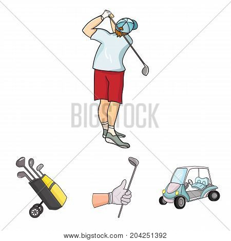 A gloved hand with a stick, a golf cart, a trolley bag with sticks in a bag, a man hammering with a stick. Golf Club set collection icons in cartoon style vector symbol stock illustration .