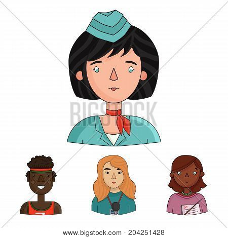 A journalist with a microphone with a badge, a teacher with a pointer in beads, a stewardess in a pilot's cap, an athlete with a bandage on her head.People of different professions set collection icons in cartoon style vector symbol stock illustration .
