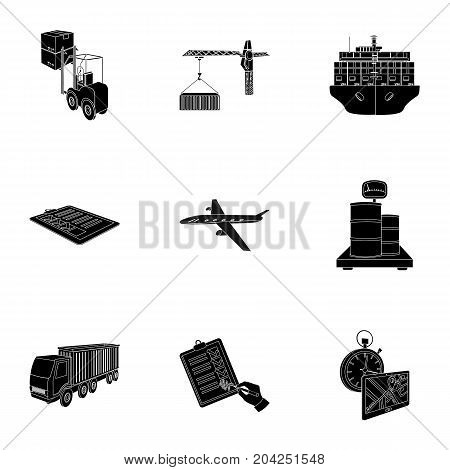 Forklift, cargo plane, goods, documents and other items in the delivery and transportation. Logistics and delivery set collection icons in black style isometric vector symbol stock illustration .