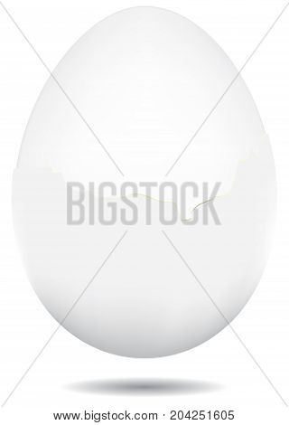 A boiled egg in a white shell an egg partially peeled from the shell.