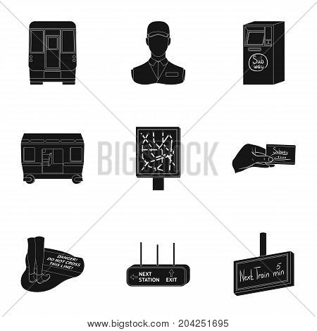 Machine, means, movement and other  icon in black style.Transport, public, machinery, icons in set collection.