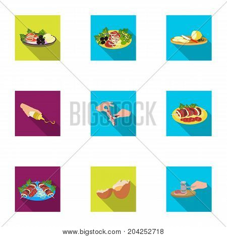 Fried chicken, cooking chop, slicing vegetables, shish kebab and other elements of cooking. Food and Cooking set collection icons in flat style vector symbol stock illustration .