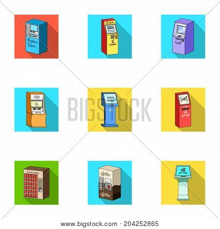 ATM, coffee machine, information apparatus and other types of terminals. Terminals set collection icons in flat style isometric vector symbol stock illustration .