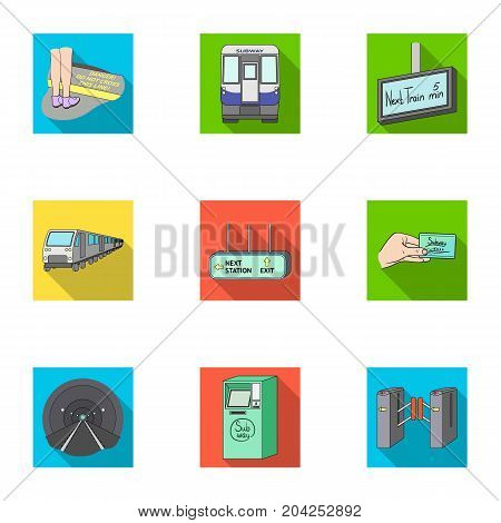 Machine, means, movement and other  icon in flat style.Transport, public, machinery, icons in set collection.