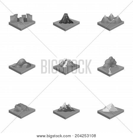 Mountains, rocks, lighthouse, volcano and other land reliefs. Mountains and landscapes set collection icons in monochrome style isometric vector symbol stock illustration .