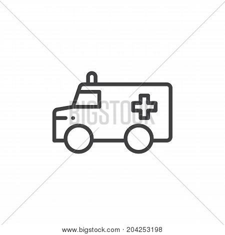 Ambulance truck line icon, outline vector sign, linear style pictogram isolated on white. Symbol, logo illustration. Editable stroke