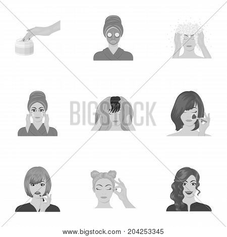 Salon, means, hygiene, and other  icon in monochrome style.Smile, hairdresser, cosmetic, icons in set collection.