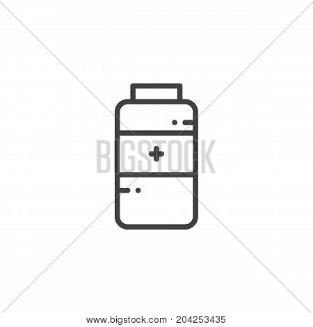 Medications jar line icon, medications jar outline vector sign, linear style pictogram isolated on white. Symbol, logo illustration. Editable stroke