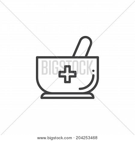 Mortar and pestle with medical cross line icon, outline vector sign, linear style pictogram isolated on white. Medicine symbol, logo illustration. Editable stroke